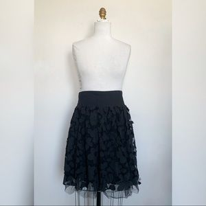 Floral Lace Skirt with Tulle Trim